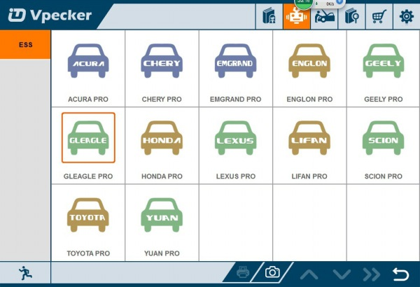 VPECKER Easydiagサポート車のリストの表示